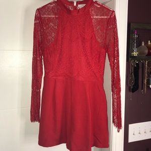 Lush Nordstrom red lace romper play suit pockets
